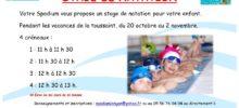 Stage natation pour enfants lors des vacances de la Toussaint 2016